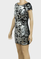 New Ladies ex-Forever 21 Silver Black Sequin Bodycon Party Dress Size 8/10 12 14