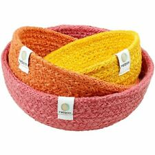 Set of 3 Sustainable Handmade Jute Storage Nesting Bowls-Bright Red Orange Tones