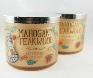 (2) Bath & Body Works Mahogany Teakwood Animal Forest 3-wick Candle 14.5oz New