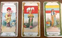 1900`s Victorian Coffee Trading Cards Printed In Germany 3 Country Cards RARE