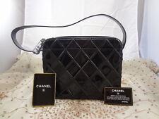 Authentic Chanel Black Diamond Quilt Patent Small Camera Shoulder Bag Purse T20
