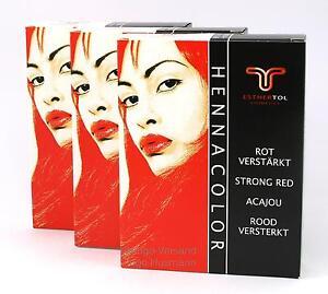 3 x EstherTol Henna-Pulver Acajou Rot Verstärkt a 85 g