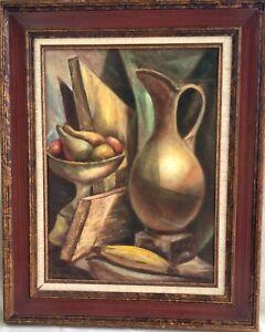 Vintage Framed Original Cubist Still Life Oil Painting - Marian C Allen