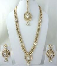 WHITE KUNDAN GOLD TONE BOLLYWOOD INDIAN BRIDAL LONG NECKLACE JEWELRY SET 4 PCS