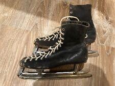 Vintage Antique Christmas Holiday Decor Mens Leather Ice Skates Black