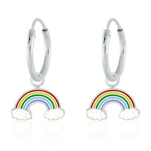 925 Sterling Silver Rainbow Glitter Cloud Enamel Sleeper Hoop Earrings Kids