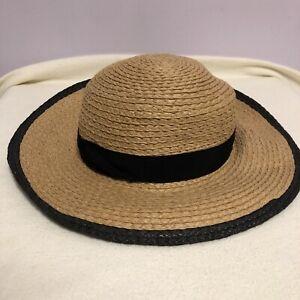 Accessorize Brown & Black Paper Wide Brim Sun Hat. Size Medium