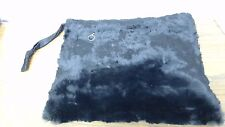 Vintage Antique Genuine Fur Muff Silky Soft Black Fur zipper pocket & feathers