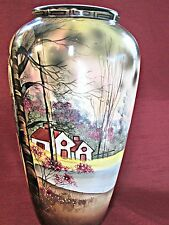 Antique ROYAL NIPPON Earthenware TALL VASE Beautiful Hand Painted LANDSCAPE