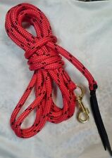 22ft (6.7m) Lead Rope  or Lunge Line w Brass Snap in  Red with Black Fleck