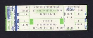 David Bowie 1978 Unused Concert Ticket Forum Isolar Stage Tour Heroes Ziggy 4/4