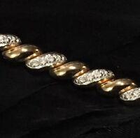 "BEAUTIFUL ESTATE STERLING SILVER VERMEIL DIAMOND TENNIS BRACELET 7 1/2"" LONG"