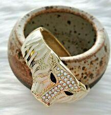 WHITE TIGER Big Cat Figural White Gold Tone Clampe Statment Bracelet *CHUNKY*