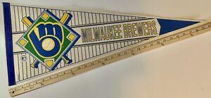 "Vintage 1990s WinCraft Milwaukee Brewers Baseball Pennant 30"" x 12"""