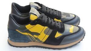 Valentino Multi Color Camo Men's Sneakers Black/Yellow/Green/Blue Spike Sz 41