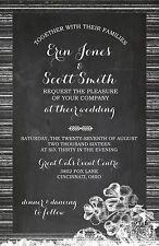 Wedding Invitations Chalkboard Wood Grain Flowers 50 Invitations/RSVP Cards