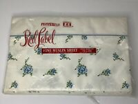 Vintage Pepperell Red Label Twin Flat Sheet & 1 Pillow Case - Blue Flowers - NIP