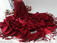 Women's Solid 100% Cashmere Pashmina Scarf Soft Warm Tassel Wrap Shawl-Wine Red
