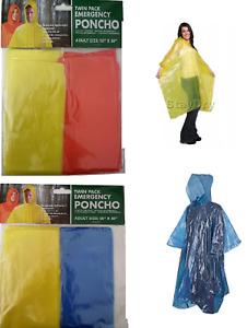 4 x Adult Emergency Waterproof Rain Poncho Hooded Music Concert Festival camping