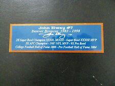 John Elway Autograph Nameplate Denver Broncos Helmet Jersey Football