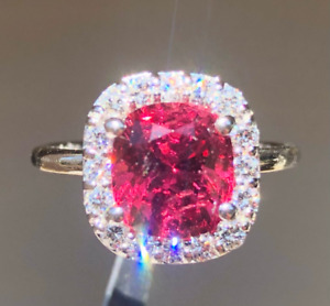 Heirloom 3.22 carat Natural Untreated Jedi Red Spinel and VS1 Diamond 14k Ring