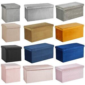 Folding Ottoman Chest Solid Sturdy Storage Space Saving Bedding Box Trunk