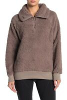 Z By Zella Power Up Cozy Faux Shearling Pullover 1/4 Zip Funnel Neck Brown NWT