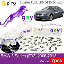 7pcs LED Interior Light Kit HID White Lamp For BMW 3 Series E92 Coupe 2006-2013