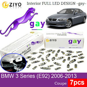 7pcs LED Interior Light Kit HID White Lamp For BMW 3 Series E92 Coupe 2006-2013