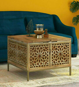 Antique Gulmohar Solid Wood Trunk Table Box in Natural & Gold Finish Home Decor