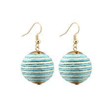 Single Thread Wrapped Disco Ball Dangle Pom Pom Hook Orb Earrings 6 Colors Women