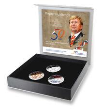 3 x 10 Euro Niederlande 2017 Etui 50. Geb. Willem Alexander PP Silber Farbe Satz