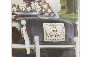 36 Pc Car Decorating Kit Just Married Reusable NEW