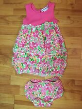 Maggie & Zoe Girls Sz. 24 Months Knit Woven Floral Tank Bubble Dress Bloomer Set
