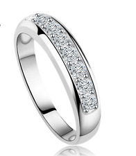 Crystal Platinum Plated Engagement Wedding Anniversary Eternity Ring Band Size 7