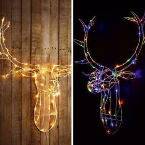 85cm Metal Framed Reindeer Stags Head Christmas Light 80 LED for Indoor Outdoor