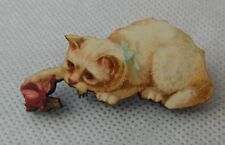 White Cat & Red Rose Brooch or Scarf Pin Wood Accessories NEW Fashion