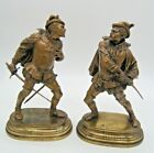 ANTIQUE FRENCH BRONZES BY GUILLEMIN SWORD FIGHTERS PAIR 19TH CENTURY