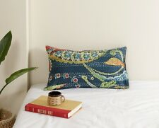 "Standard Size Bird Print Kantha Pillow Shams Kantha Pillow Cover 12""x20"" Indian"