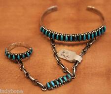 Zuni Armspange mit Ring, Slave,Needlepoint, Türkis, Indianerschmuck, 925% Silber