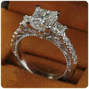 6ct Princess Cut Diamond Gatsby Vintage Solitaire Halo Ring 14k White Gold Over