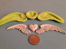 Wings & heart silicone mould set - cake decorating, fimo, craft, magical, fairy