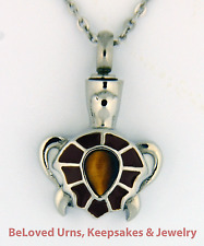 Turtle With Brown Stone On Shell Cremation Jewelry Keepsake Urn Pendant Necklace