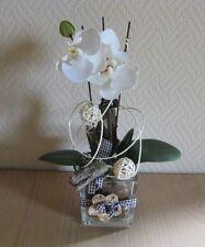 Frühling Frühjahr Tischdeko Floristik Tischgesteck  creme grün Orchidee Würfel