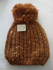 A New Light Brown/Tan Cable Knit Beanie Style Hat with Pom Pom,Lined, By Next