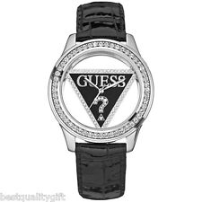 NEW GUESS SILVER+BLACK LEATHER BAND+CRYSTALS w/ LOGO CUTOUT DIAL WATCH -U95114L2