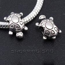 50pcs Tibetan Silver Tone Spacer Beads Fit European Charms Bracelet Turtle Daisy