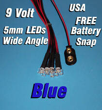 10 x LED - 5mm PRE WIRED LEDS 9 VOLT ~ WIDE BLUE  ~ 9V