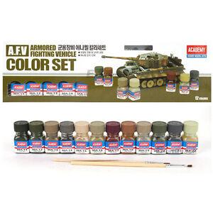 Academy A.F.V Enamel Painting 12 Color Set for Plastic Model Kits #15906+Trackin
