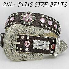 2XL Western Leather Belt PINK Crystal AB Rhinestone Bling PLUS XXL Berry Concho